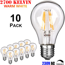 4W 6W 8W A60 Amber/Clear/Frost European Medium Edison Base E27 220V 230V 240V Dimmable Antique LED Filament Vintage Light Bulb