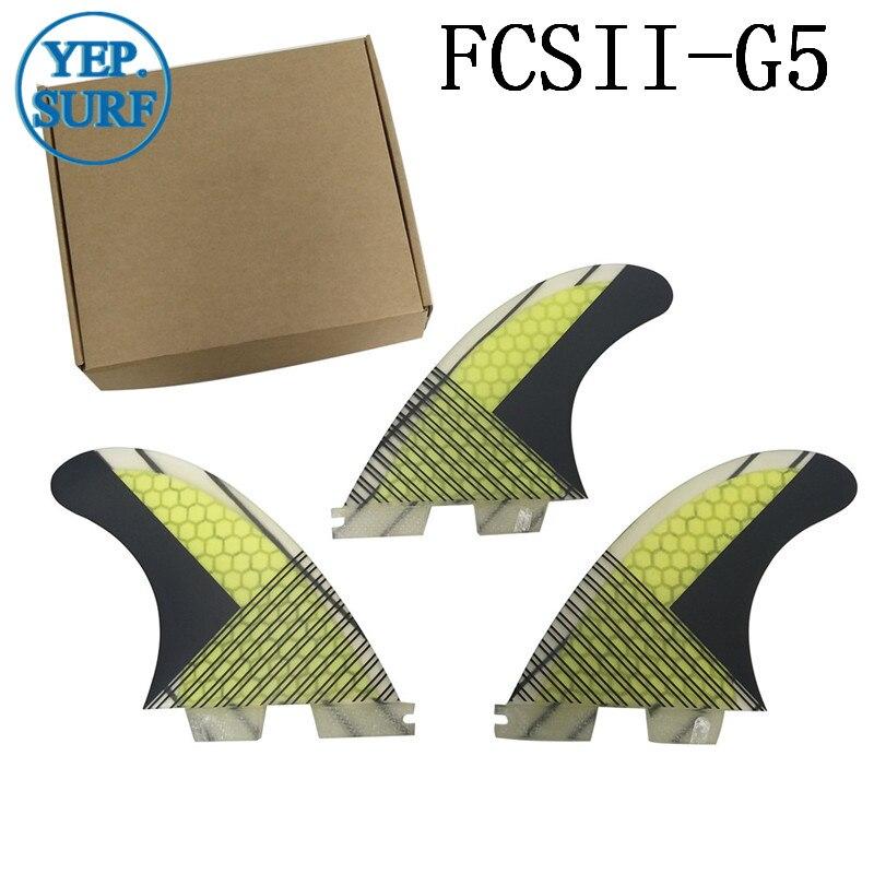 Aileron de planche de surf FCS2 G5 ailerons en nid d'abeille ensemble à trois ailerons FCSII G5 base en fibre de verre 3 pièces par ensemble - 6