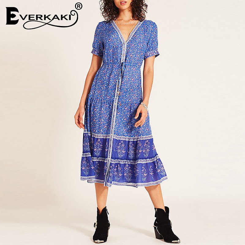 60ef170ceb9 Detail Feedback Questions about Everkaki Dresses Summer 2019 Bohemia Floral  Print V neck Sexy Dress New Design Casual Retro Button A line Dresses For  Women ...