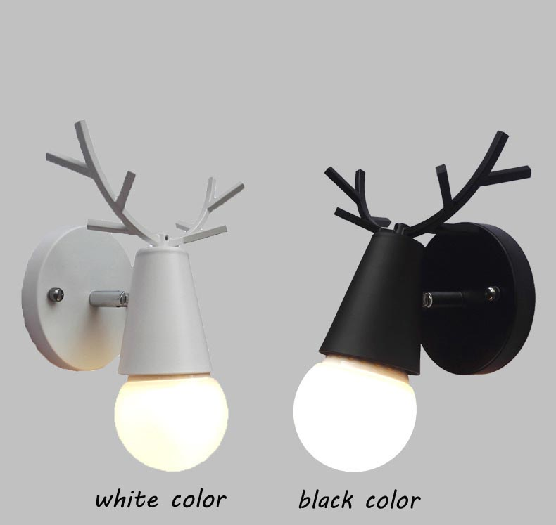 Nordic Vintage Antler Wall Lamp Contemporary Art Dec Black White Wood Antler Wall Light Sconce Bedside Reading Adjustable Arm Light Bedroom Wall Lamp (13)