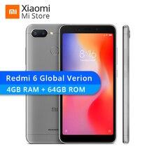 Küresel Sürüm Xiaomi Redmi 6 4 GB 64 GB Cep Telefonu Helio P22 Octa Çekirdek 12MP + 5MP Çift Kameralar 5.45
