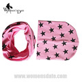 WomensDate New Winter Autumn Baby Hat Scarf Girl Boy Cotton Beanie Star Print Knitted Toddlers Children Cap 1 Set Pink Hat Scarf