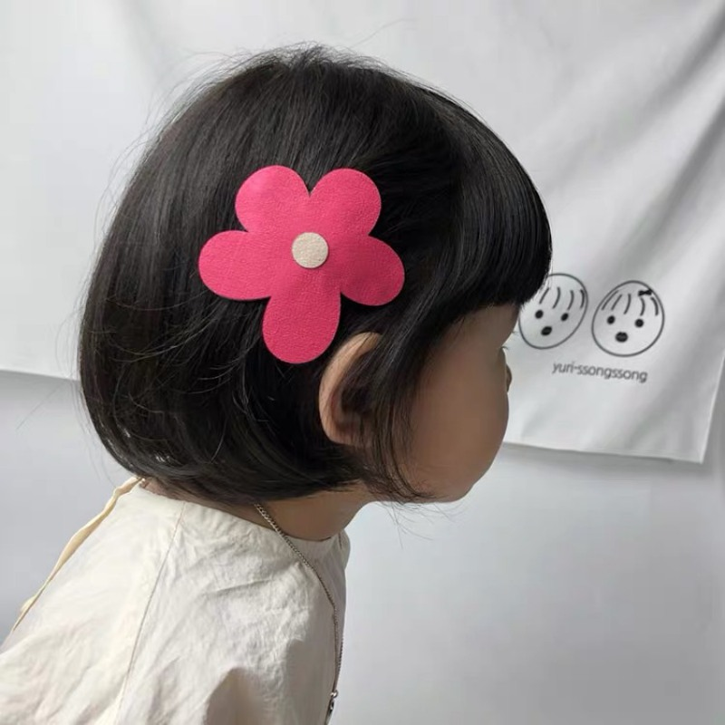 All-match Hair Clip Children Girl's Flower Solid Color All-match Concise Casual Leather Hair Clip(China)