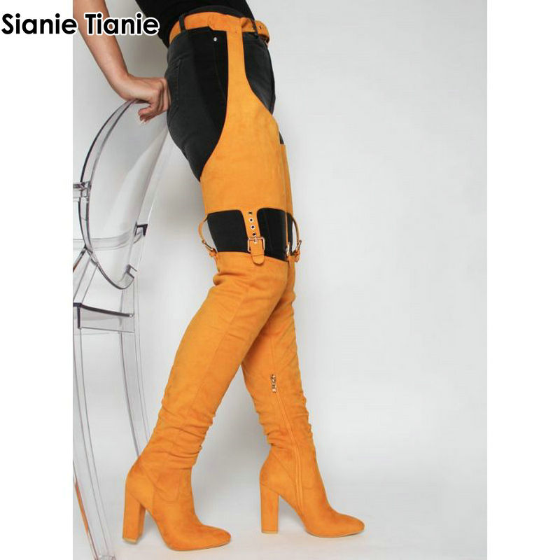 Sianie Tianie Sexy Thigh High Boots Winter OverKnee Booties Over-The-Knee High Heels Woman Shoes Waist Buckle Strap Pants BootsSianie Tianie Sexy Thigh High Boots Winter OverKnee Booties Over-The-Knee High Heels Woman Shoes Waist Buckle Strap Pants Boots
