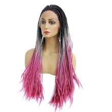 Crochet Box Braids Hair 24''Long Synthetic Lace Front Wigs For Women Heat Resistant Fiber Hair Premium Ombre Pink Black Burgundy все цены