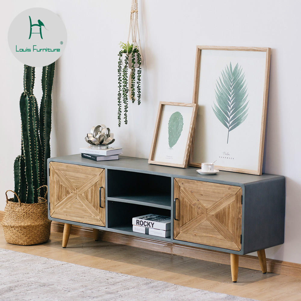 US $406.9 |Louis Fashion TV Stands Simplesmall Apartment Northern Europe  Imitation Cement Bedroom Post modern Storage Furniture-in TV Stands from ...