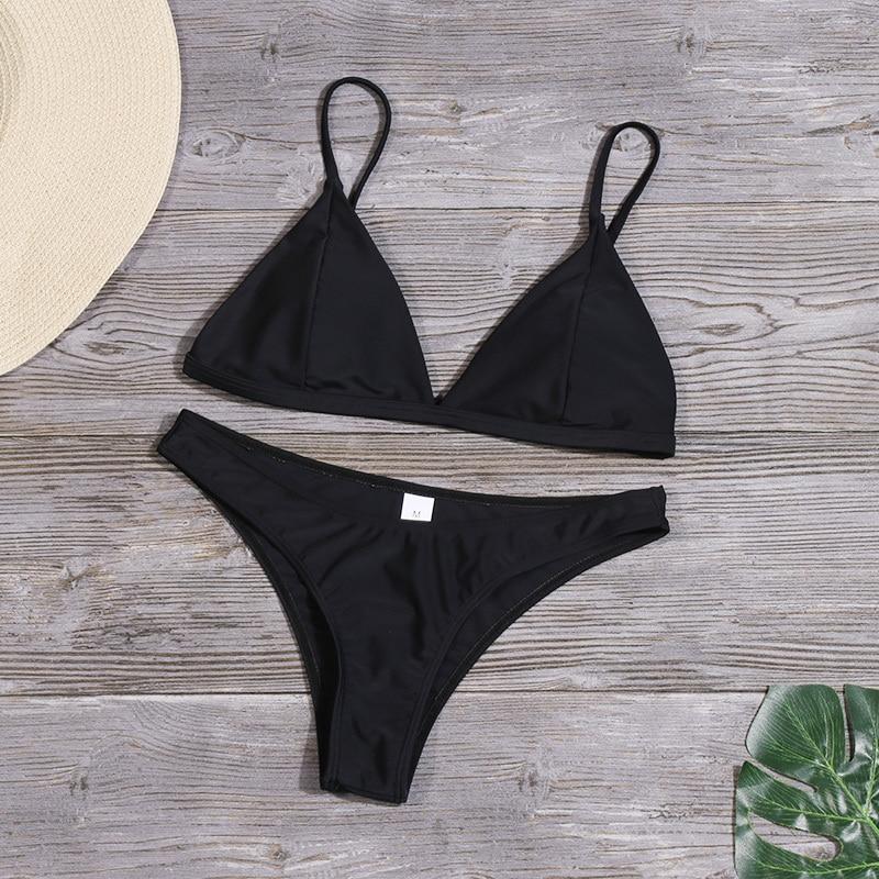Женский Одноцветный комплект бикини, сексуальный купальник с низкой талией, купальник, летний купальный костюм, низкая талия, пляжная одежд... 28