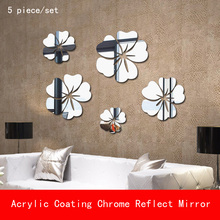 5 Pcs flower thickness 1mm Acrylic coating Chrome unbreak Reflect Mirror Decorative for Wall Shower Room