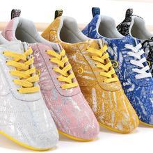 Новые кроссовки унисекс tai chi для занятий боевыми искусствами taijiquan мягкие кроссовки из воловьей кожи ушу кунг-фу обувь для соревнований синий/золотой/розовый
