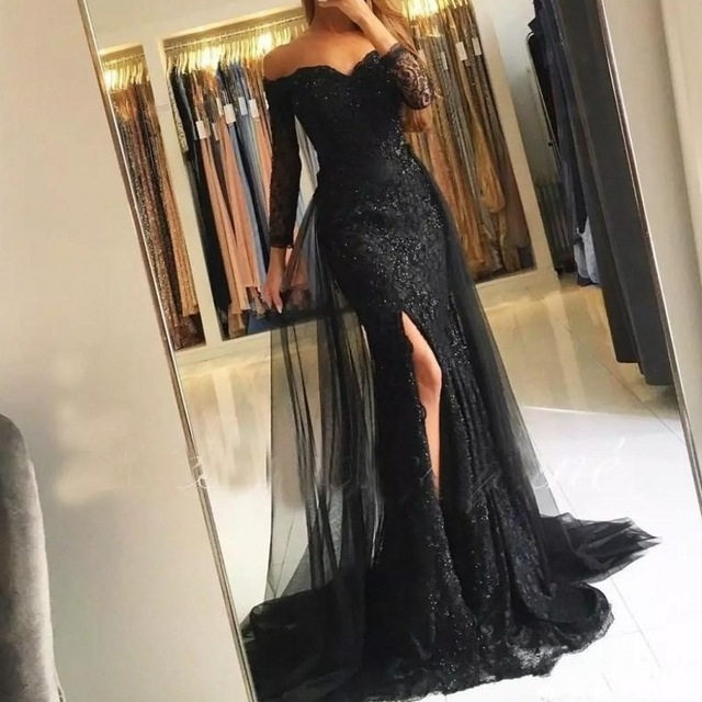 Vintage Black Gown Full Sleeve <font><b>2018</b></font> Robe <font><b>De</b></font> Soiree Mermaid Formal <font><b>Dresses</b></font> <font><b>Vestido</b></font> <font><b>De</b></font> <font><b>Festa</b></font> <font><b>Sexy</b></font> Long Gowns image
