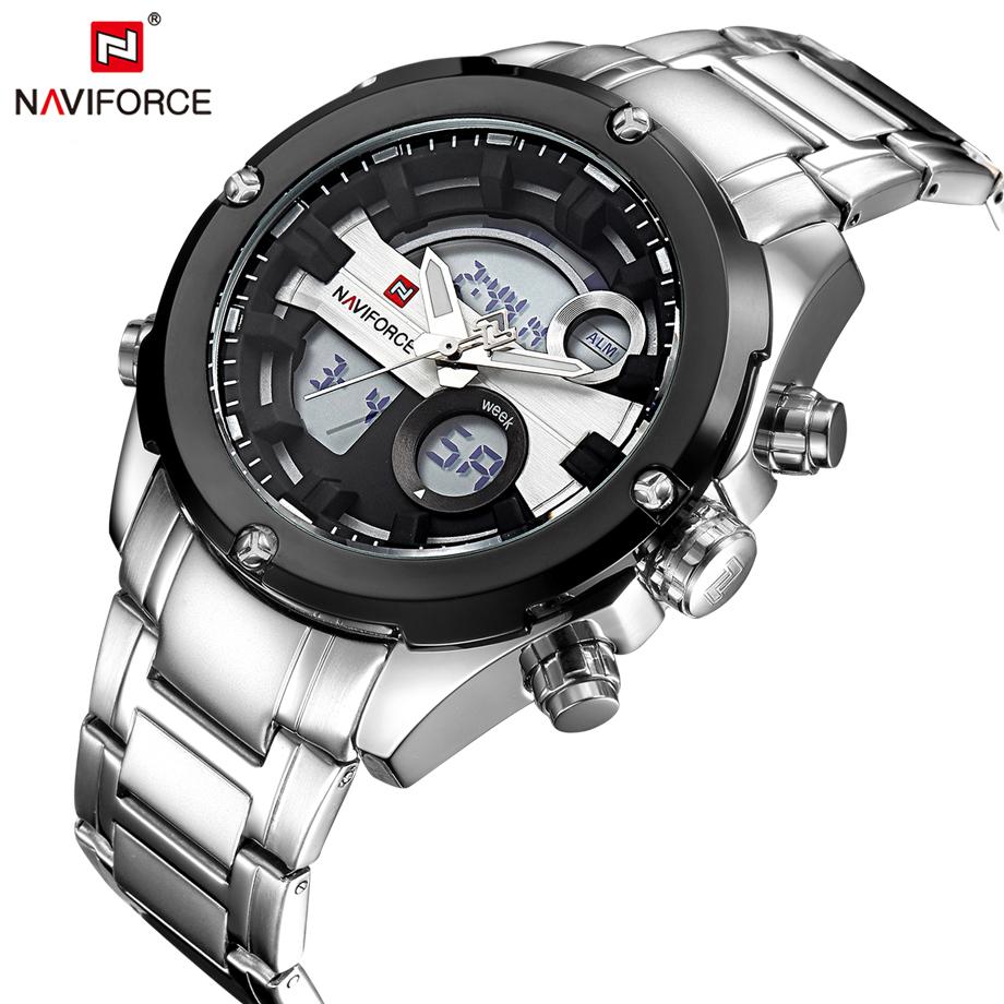 Prix pour Top Marque NAVIFORCE De Luxe Argent Acier de Mode Hommes Sport Montres Hommes Numérique LED Horloge Homme Montre-Bracelet relogio masculino