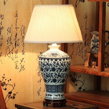 Антикварный стиль синий и белый фарфор Керамические настольные лампы для прикроватной тумбочки