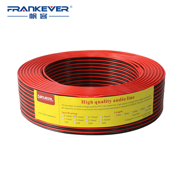 frankever 100m speaker cable red and black hifi audio core wire for home  theater stereo dj system 2*0 3/0 5/0 75/1 5mm