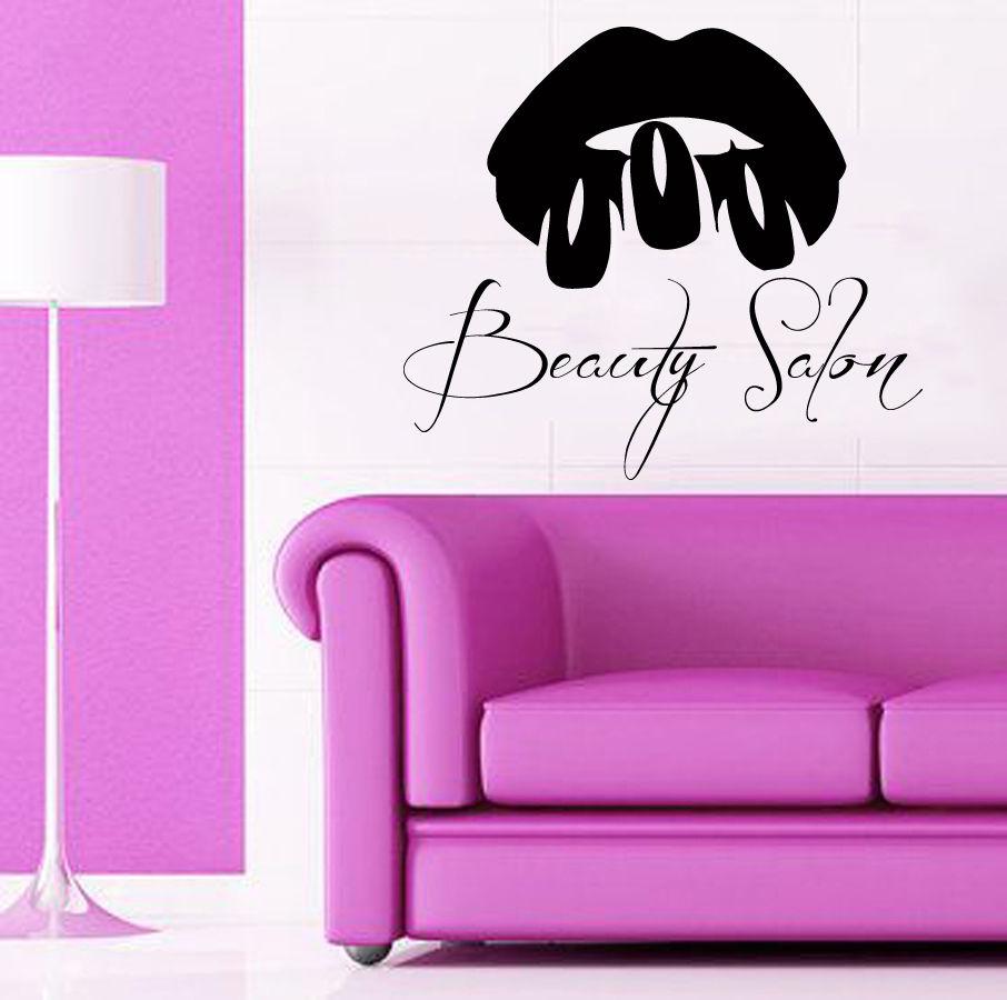 Eyes wall stickers wow modern beauty salon valentine wall decoration - Girls Beauty Salon Wall Stickers Sexy Lips Nails Quote Beauty Salon Wall Decal Livingroom Woman Home