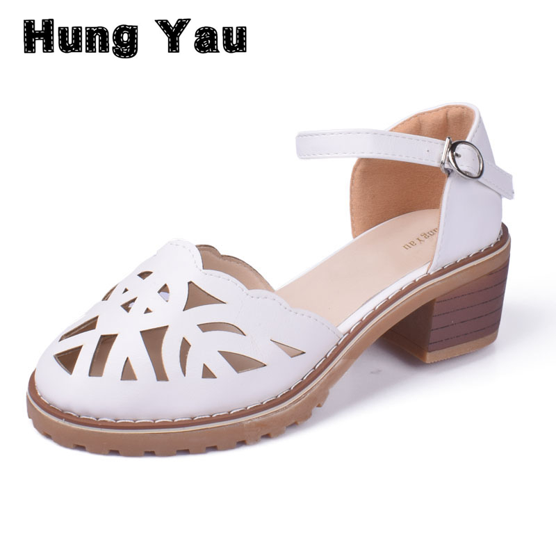 Hollow-Carved Women Sandals 2017 Summer Style Retro Platform White Sandals Comfortable High Hoof Thick Heels Shoes Plus Size 9 retro embroidery women wedges sandals summer style platform shoes woman casual thick high heels creepers slippers plus size 9