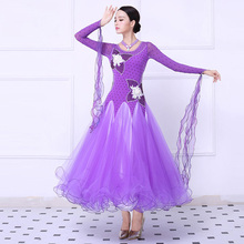 Women's Ballroom Waltz Dance Dress Purple High Quality Custom Made Tango Flamenco Competition Skirt Lady Dancing Clothes