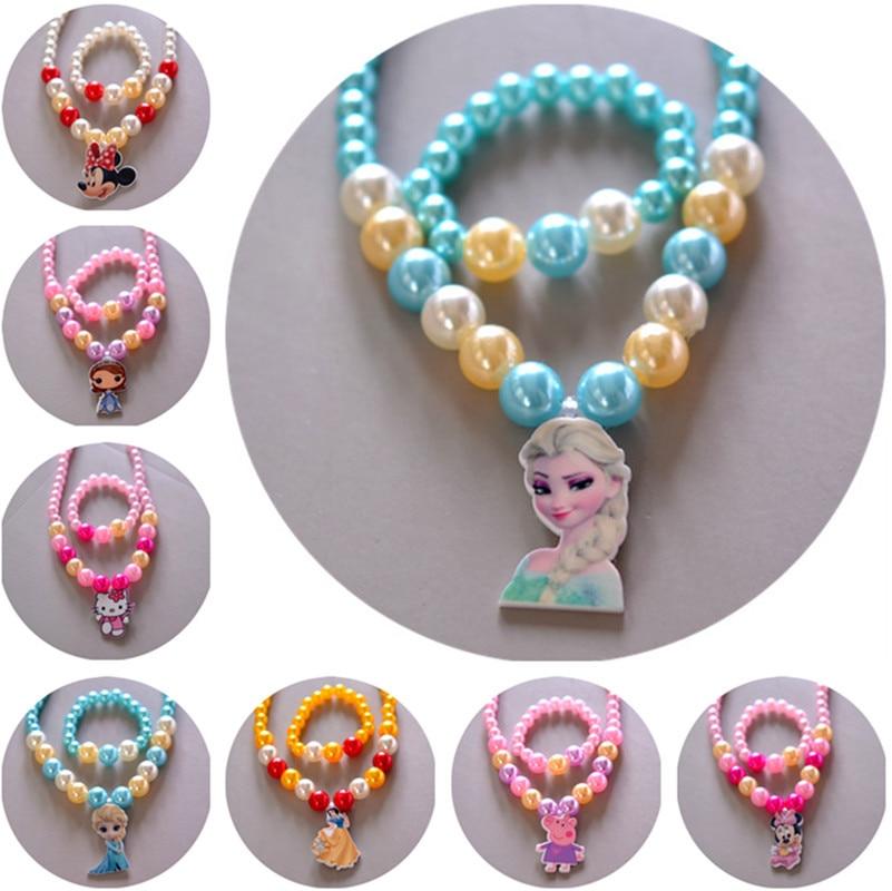 2 pièces/lot Disney enfants poupée accessoires filles collier + Bracelet ensemble bébé cadeau reine des neiges princesse (lot de 2)