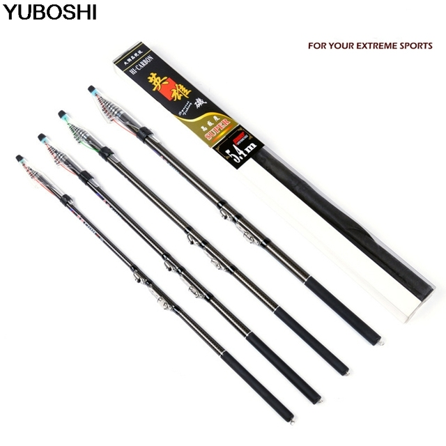 YUBOSHI Telescopic Fishing Rod Ultra light Hard Carbon Fiber Fishing Rods 2.7m 3.6m 4.5m 5.4m