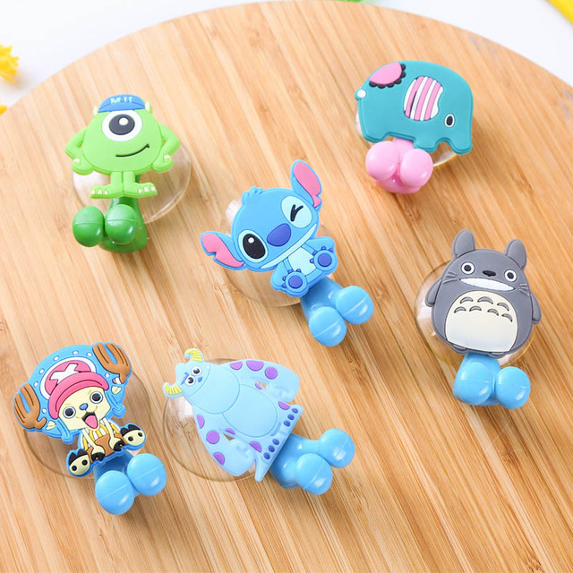 Animal Cute Minion Hello Kitty Cartoon Suction Cup Toothbrush Holder Bathroom Accessories Set 24 Colors Wall Suction Holder Tool