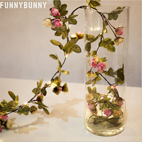 FUNNYBUNNY Artificial Rose Vine String Lights, Battery Powered Flower Garland Plant Fairy Light, Weddingroom Party Garden Decore