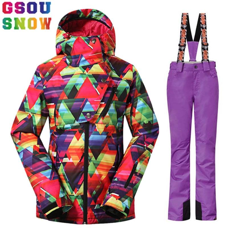 GSOU SNOW Brand Ski Suit Women Winter Ski Jacket Pants Waterproof Sets Snowboard Jacket Pants Female