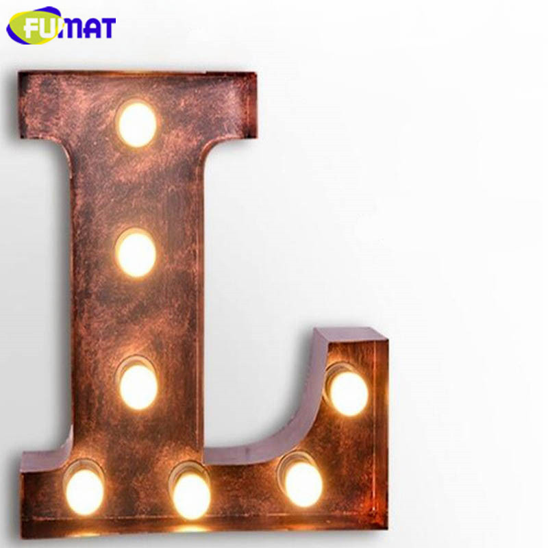 FUMAT Metal Letter Lamps Art Deco Bar Cafe Lamps Living Room Dinning Room Lights Vintage Loft Wall Sconce