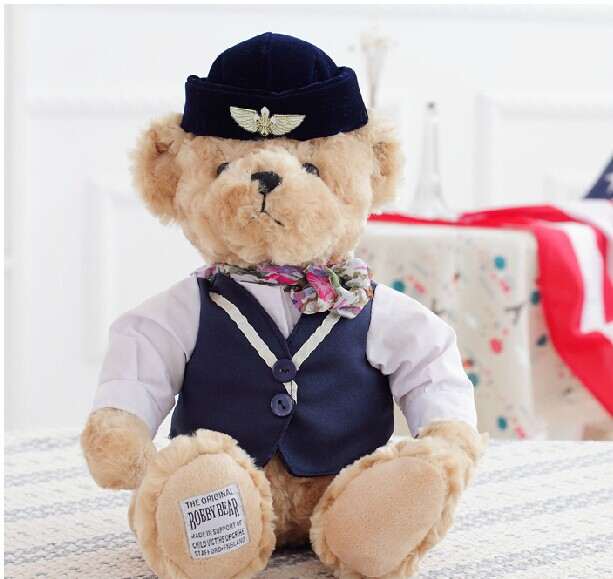 big lovely British style teddy bears doll dark blue cloth flight attendant bear plush doll birthday gift about 42cm napapijri guji check dark blue