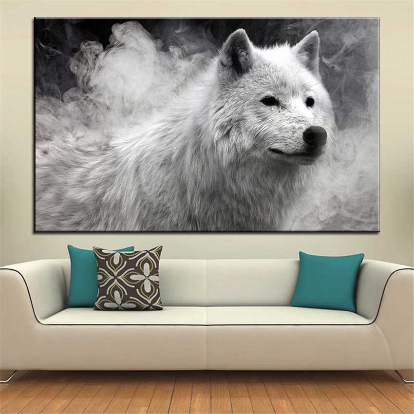 Large size Printing Oil Painting white wolf Wall painting Decor Wall Art Picture For Living Room painting No Frame