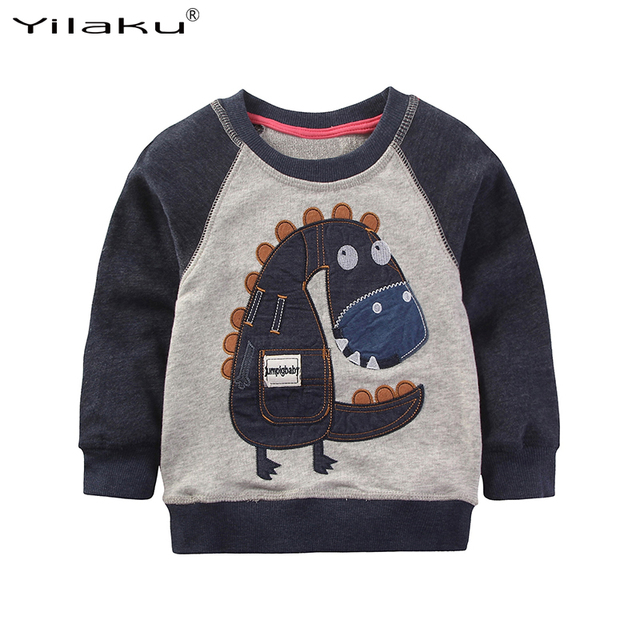 2017 Cartoon Dinosaur Boys Long Sleeve T Shirt Children Tops Tees Kids Cartoon T-shirts for Boy Autumn Clothing 1~6 Years CG232