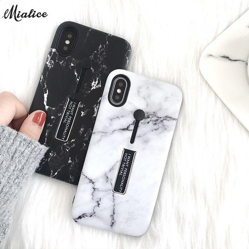 Simple marbre Soild Cas de Téléphone Pour iphone X 8 8 plus 7 7 s 6 6 s 6 plus 6 splus D'or Argent Bague Titulaire Grip couverture arrière