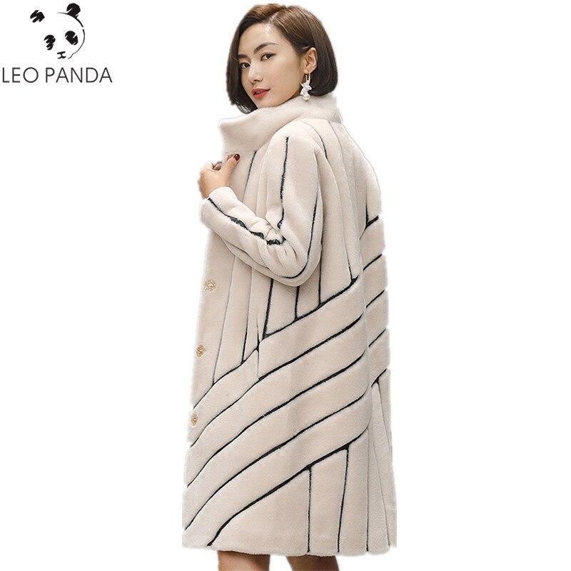 2019 New Striped Coat Mouton Coat For Woman Female Tonfur Fur Coat Women's Winter Jackets Real Fur 100% Wool Fur Coats HF468