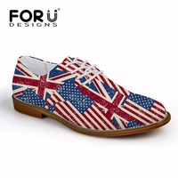 FORUDESIGNS Casual Men Synthetic Leather Oxford Shoes Fashion UK USA Flags Puzzle British Style Mens Flat Shoes High Quality
