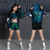Girls Sequin Ballroom Jazz Hip Hop Dance Competition Costume Tank Tops Shorts Loose Coats for Kid Dancing Clothing Clothes Wear