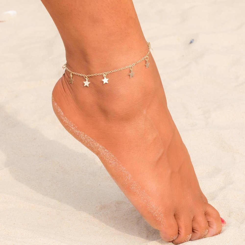 แฟชั่น Simple Star จี้หญิงข้อเท้ารองเท้าแตะเท้ารองเท้าแตะ 2019 ใหม่ข้อเท้าสร้อยข้อมือสำหรับผู้หญิงเครื่องประดับชายหาด