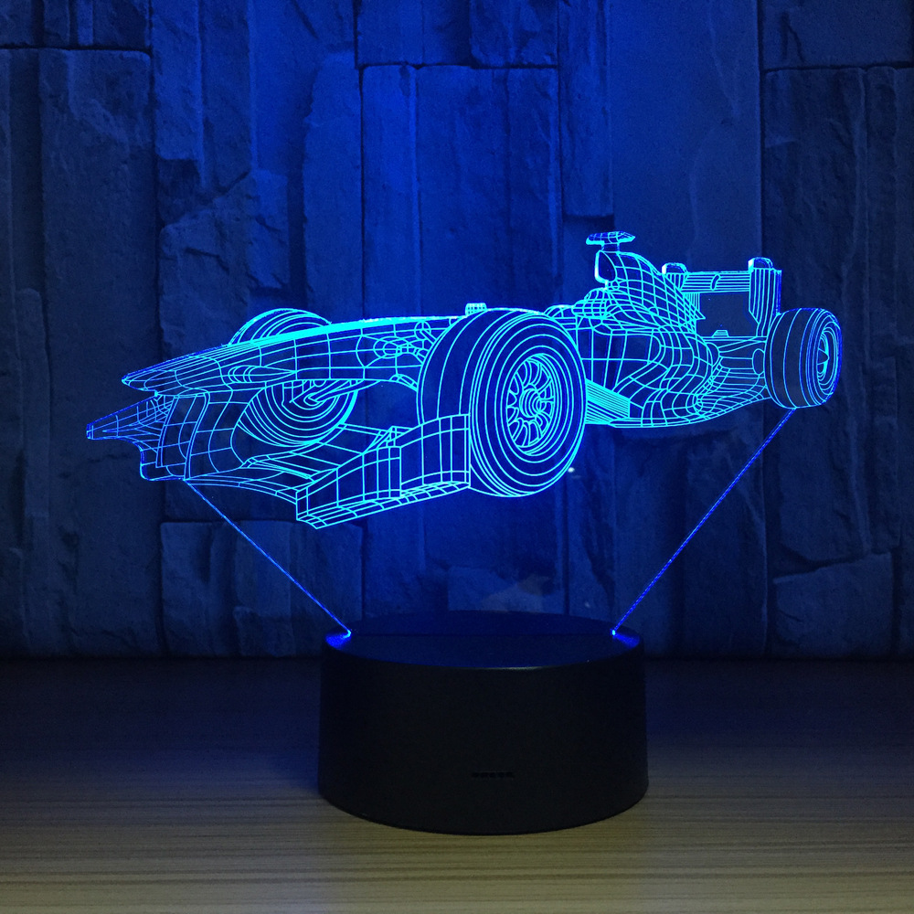 Racing Car 7 Color Lamp 3D LED Lamp Visual Led Night Lights For Kids Touch Usb Table Lampara Lampe Sleeping Nightlight Drop Ship