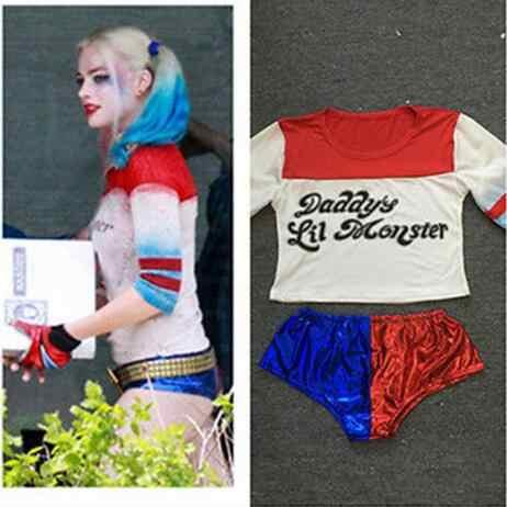Batman Arkham Asyl Stadt Selbstmord Squad Harley Quinn Kostüm T-shirt Papa der Lil Monster T-Shirt Shorts Joker Cosplay Kostüme