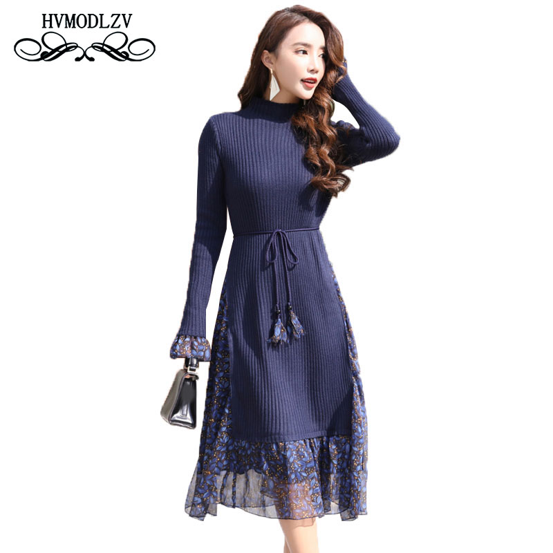 2018 New Spring Autumn Plus size Knitted Floral Woman Dress vestidos Long sleeves Fashion speaker  dress female  lj601 plus size double pockets knitted dress