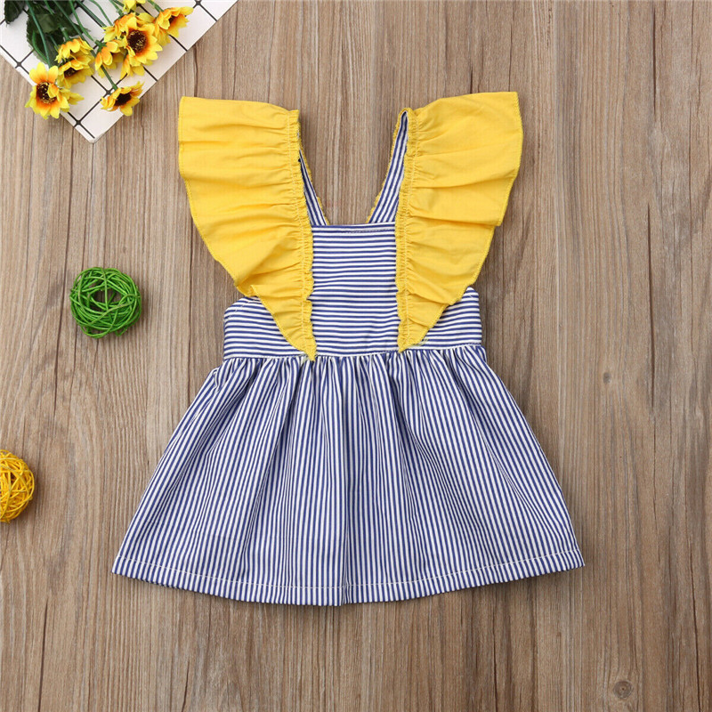 Kids Baby Girls Backless Striped Dress Brief Summer Flying Sleeve High Waist Princess Dress Baby Girl Tutu Cotton Sundress 6M-4YKids Baby Girls Backless Striped Dress Brief Summer Flying Sleeve High Waist Princess Dress Baby Girl Tutu Cotton Sundress 6M-4Y