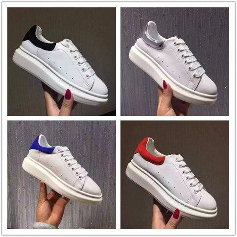 Chic phụ nữ của giày thường giày cao chất lượng thực da giày trắng 2019 mùa xuân mùa thu đường băng nền tảng giày EU35-40 kích thước BY635