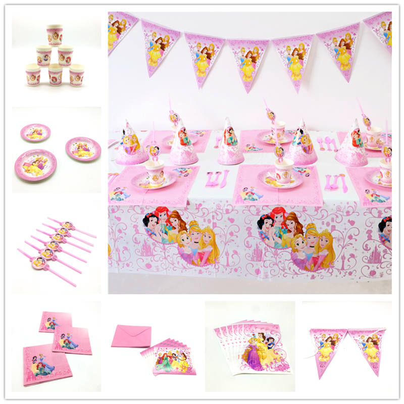 Six Princess Theme Family Party Wedding Disposable Paper Cup Plate Napkin Mask Girl Favor Birthday Candy Box Popcorn Box Supply