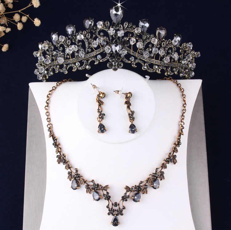 Barokke Vintage Brons Goud Kristal Kralen Bruids Sieraden Sets Strass Choker Ketting Oorbellen Tiara Set Bruiloft Sieraden Set