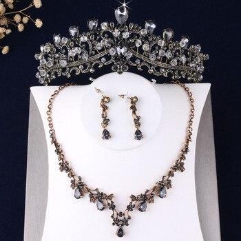 Baroque Vintage Bronze Gold Crystal Beads Bridal Jewelry Sets Rhinestone Choker Necklace Earrings Tiara Set Wedding Jewelry Set Fashion Jewelry