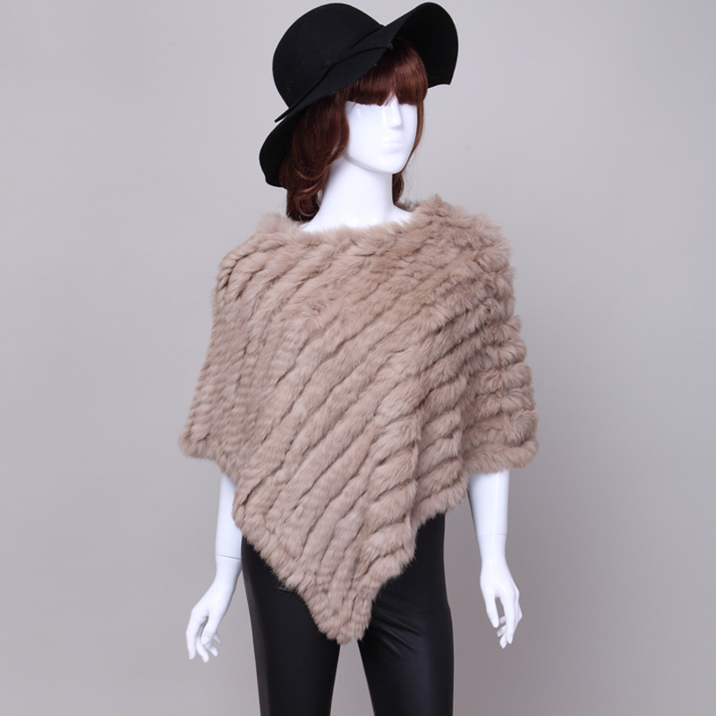 Knitted rabbit fur shawl poncho stole cape scrap wrs