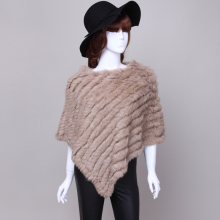 Knitted rabbit fur shawl poncho stole cape scrap wrap women's garment 8 colors