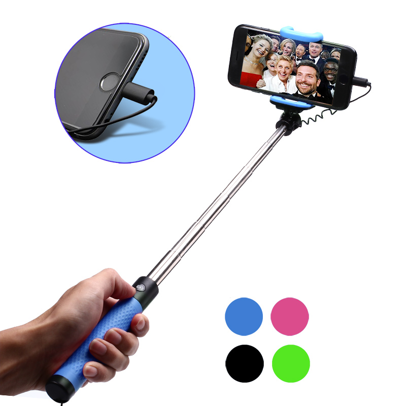 For iPhone 7 / 7 Plus Selfie Stick Monopod Mini Button Handle Monopod With Connector For IOS iPhone 6 6S Plus 5S 5 SE блендер bosch msm 66150