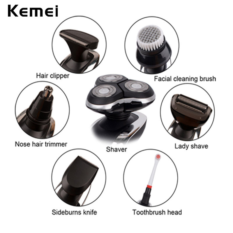Grooming Kit IPX5 Precision Hair Clipper Lady Shaver Head Electric Facial Cleaning Brush Nose Hair Trimmer