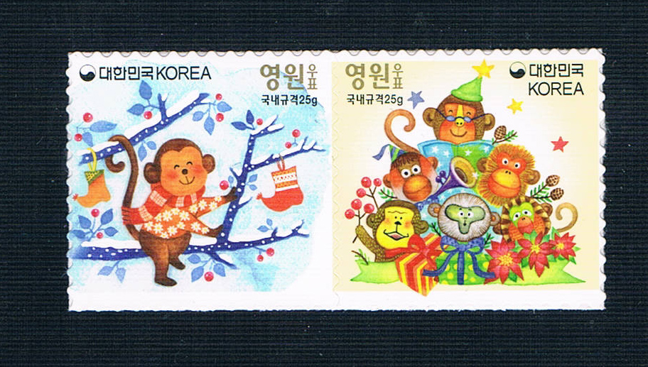 2015 Korea KR1587 China 2016 Zodiac monkey bingshen 2 new 1229 self-adhesive stamps робот zodiac ov3400