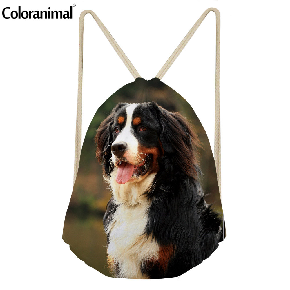 Coloranimal Cute Animal Dog Print Women Drawstring Bag Bernese Mountain Dog Men's Casual Sack String Backpack Casual Beach Bag