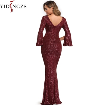 Burgund Evening Dress Long Sleeve YIDINGZS Elegant Mermaid Long Formal Evening Party Dress YD782 2