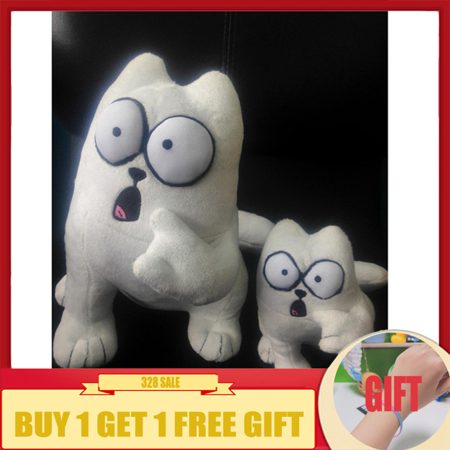 20cm Simon's Cat Plush Stuffed Animal Toy With Surprise Face White Simon Cat Toys for kids